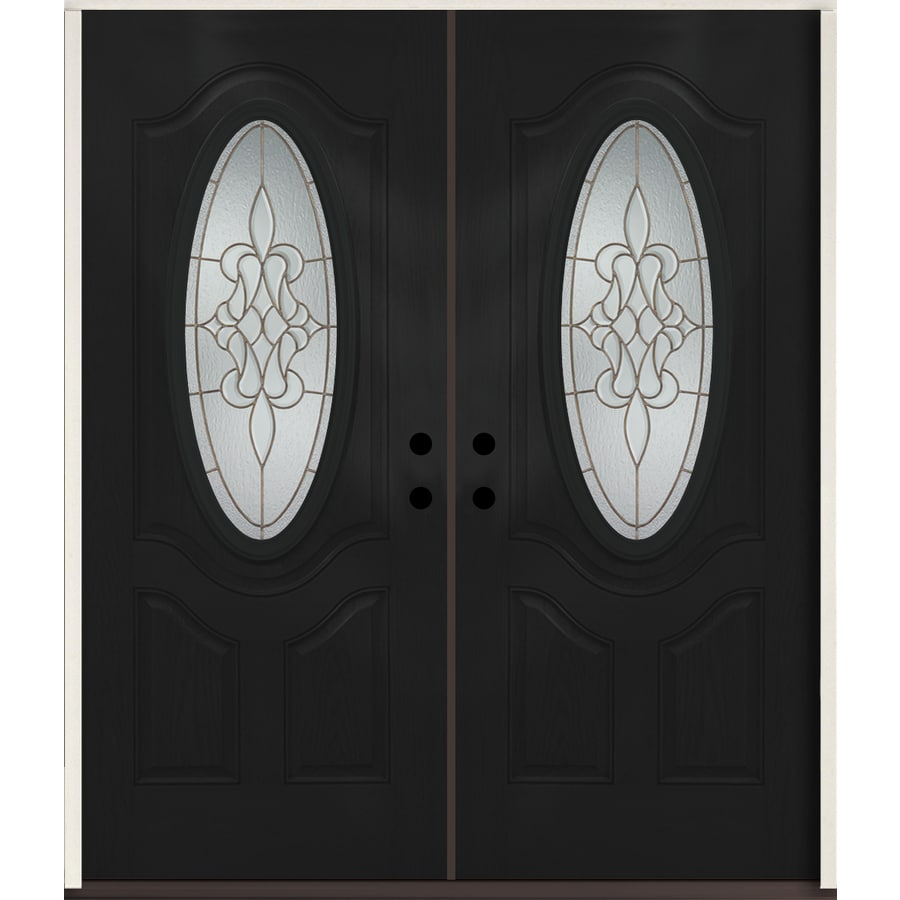 ReliaBilt Stately Oval Lite Decorative Glass Right-Hand Inswing Peppercorn Painted Fiberglass Prehung Double Entry Door with Insulating Core (Common: 72-in X 80-in; Actual: 73.875-in x 81.75-in)