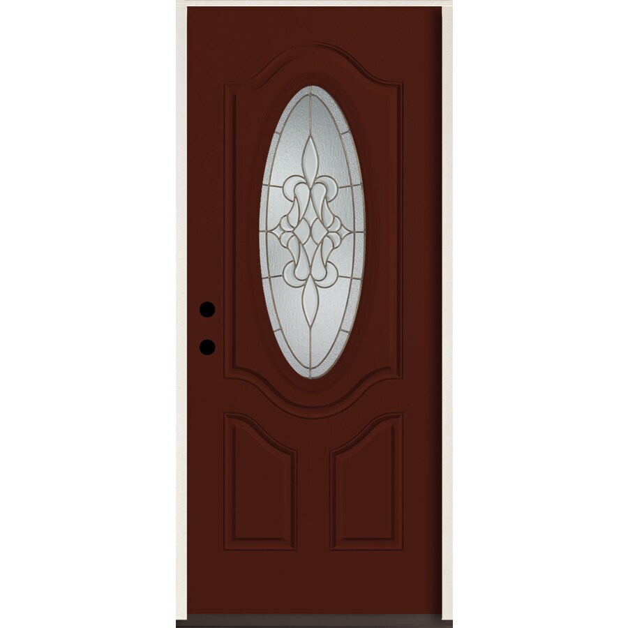 ReliaBilt Stately Oval Lite Decorative Glass Right-Hand Inswing Currant Painted Fiberglass Prehung Entry Door with Insulating Core (Common: 36-in X 80-in; Actual: 37.5-in x 81.75-in)