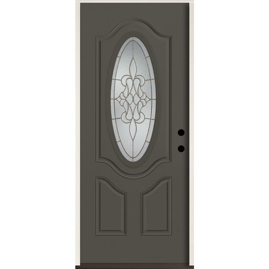 ReliaBilt Stately Oval Lite Decorative Glass Left-Hand Inswing Thunder Gray Painted Fiberglass Prehung Entry Door with Insulating Core (Common: 36-in X 80-in; Actual: 37.5-in x 81.75-in)