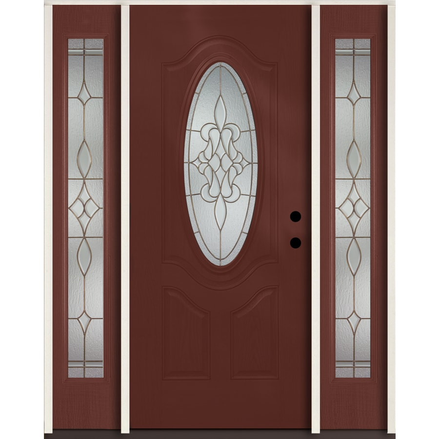 ReliaBilt Stately Oval Lite Decorative Glass Left-Hand Inswing Wineberry Stained Fiberglass Prehung Entry Door with Sidelights and Insulating Core (Common: 60-in X 80-in; Actual: 64.5-in x 81.75-in)