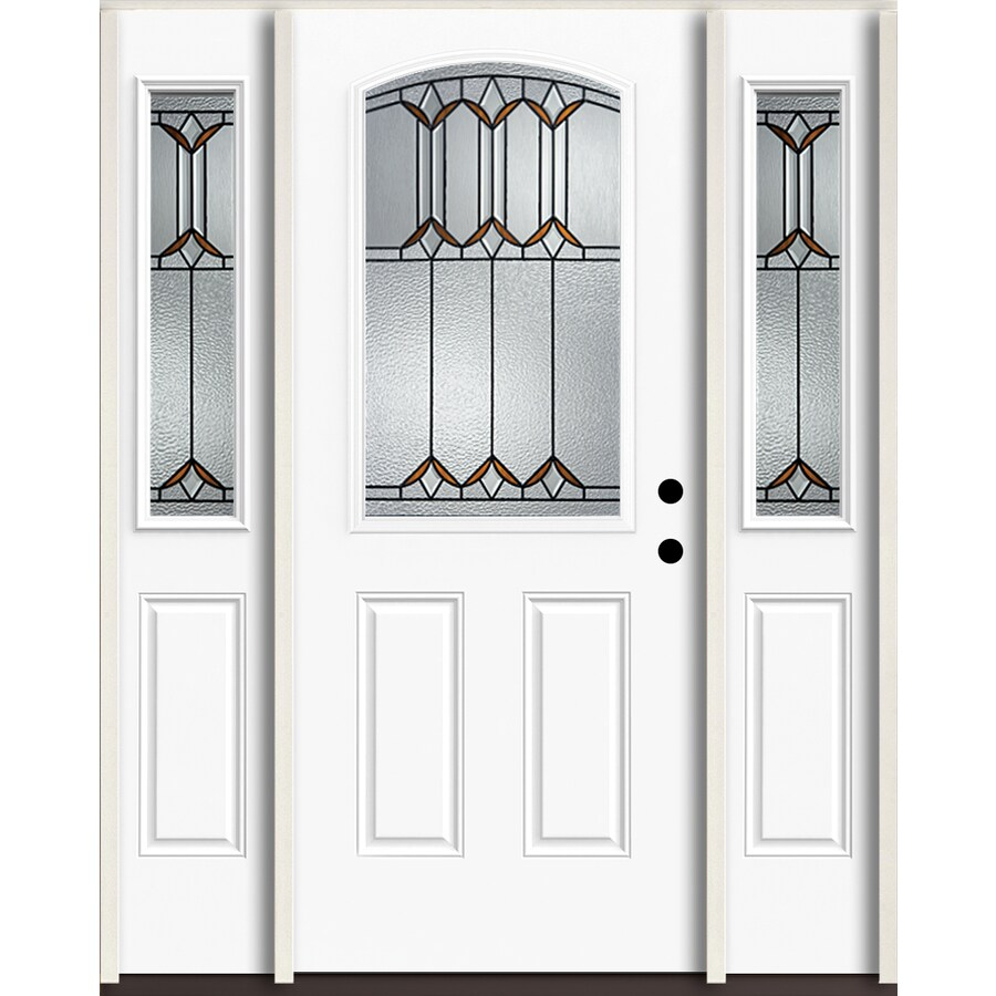 ReliaBilt Park Hill Half Lite Decorative Glass Left-Hand Inswing Modern White Painted Fiberglass Prehung Entry Door with Sidelights and Insulating Core (Common: 60-in X 80-in; Actual: 64.5-in x 81.75-in)