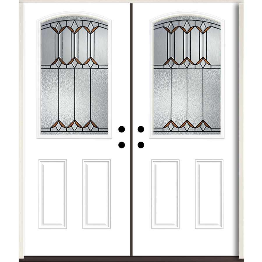 ReliaBilt Park Hill Half Lite Decorative Glass Right-Hand Inswing Modern White Painted Fiberglass Prehung Double Entry Door with Insulating Core (Common: 72-in X 80-in; Actual: 73.875-in x 81.75-in)