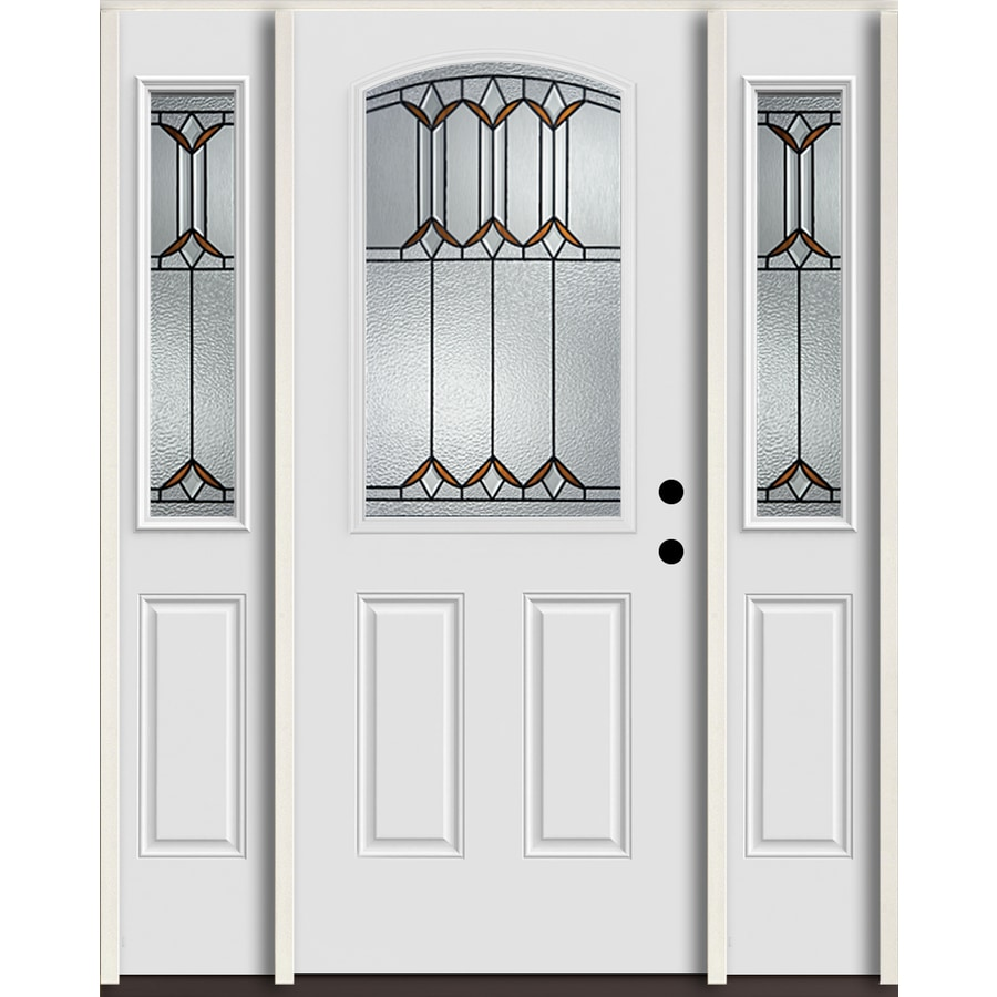 ReliaBilt Park Hill Half Lite Decorative Glass Left-Hand Inswing Arctic White Painted Fiberglass Prehung Entry Door with Sidelights and Insulating Core (Common: 60-in X 80-in; Actual: 64.5-in x 81.75-in)