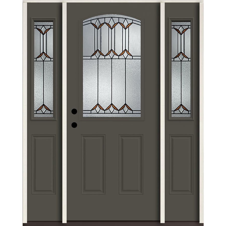 ReliaBilt Park Hill Half Lite Decorative Glass Right-Hand Inswing Thunder Gray Painted Fiberglass Prehung Entry Door with Sidelights and Insulating Core (Common: 60-in X 80-in; Actual: 64.5-in x 81.75-in)