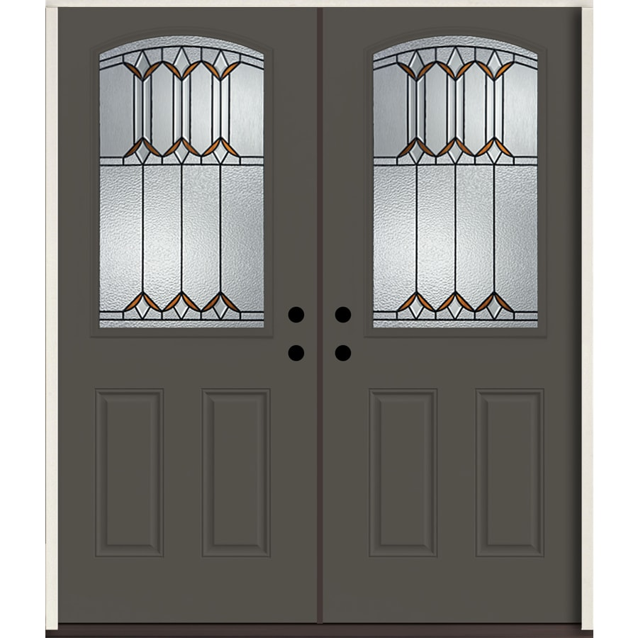 ReliaBilt Park Hill Half Lite Decorative Glass Left-Hand Inswing Thunder Gray Painted Fiberglass Prehung Double Entry Door with Insulating Core (Common: 72-in X 80-in; Actual: 73.875-in x 81.75-in)