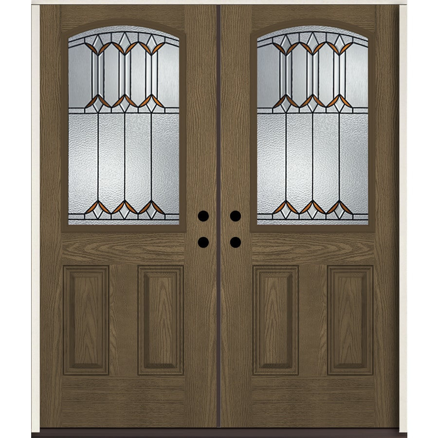ReliaBilt Park Hill Half Lite Decorative Glass Left-Hand Inswing Walnut Stained Fiberglass Prehung Double Entry Door with Insulating Core (Common: 72-in X 80-in; Actual: 73.875-in x 81.75-in)