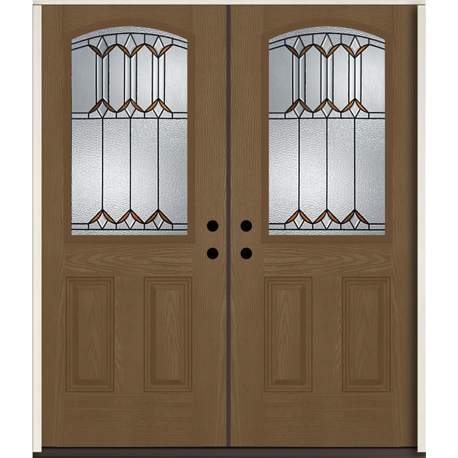ReliaBilt Park Hill Half Lite Decorative Glass Left-Hand Inswing Woodhaven Stained Fiberglass Prehung Double Entry Door with Insulating Core (Common: 72-in X 80-in; Actual: 73.875-in x 81.75-in)