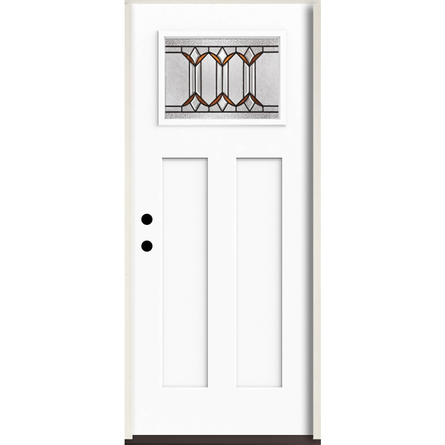 ReliaBilt Park Hill Craftsman Decorative Glass Right-Hand Inswing Modern White Painted Fiberglass Prehung Entry Door with Insulating Core (Common: 36-in X 80-in; Actual: 37.5-in x 81.75-in)