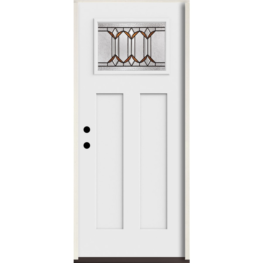 ReliaBilt Park Hill Craftsman Decorative Glass Right-Hand Inswing Arctic White Painted Fiberglass Prehung Entry Door with Insulating Core (Common: 36-in X 80-in; Actual: 37.5-in x 81.75-in)