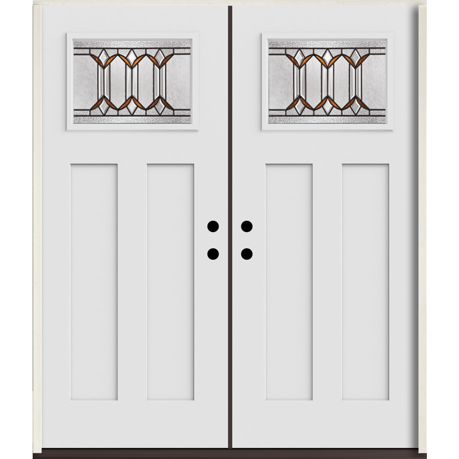 ReliaBilt Park Hill Craftsman Decorative Glass Left-Hand Inswing Arctic White Painted Fiberglass Prehung Double Entry Door with Insulating Core (Common: 72-in X 80-in; Actual: 73.875-in x 81.75-in)