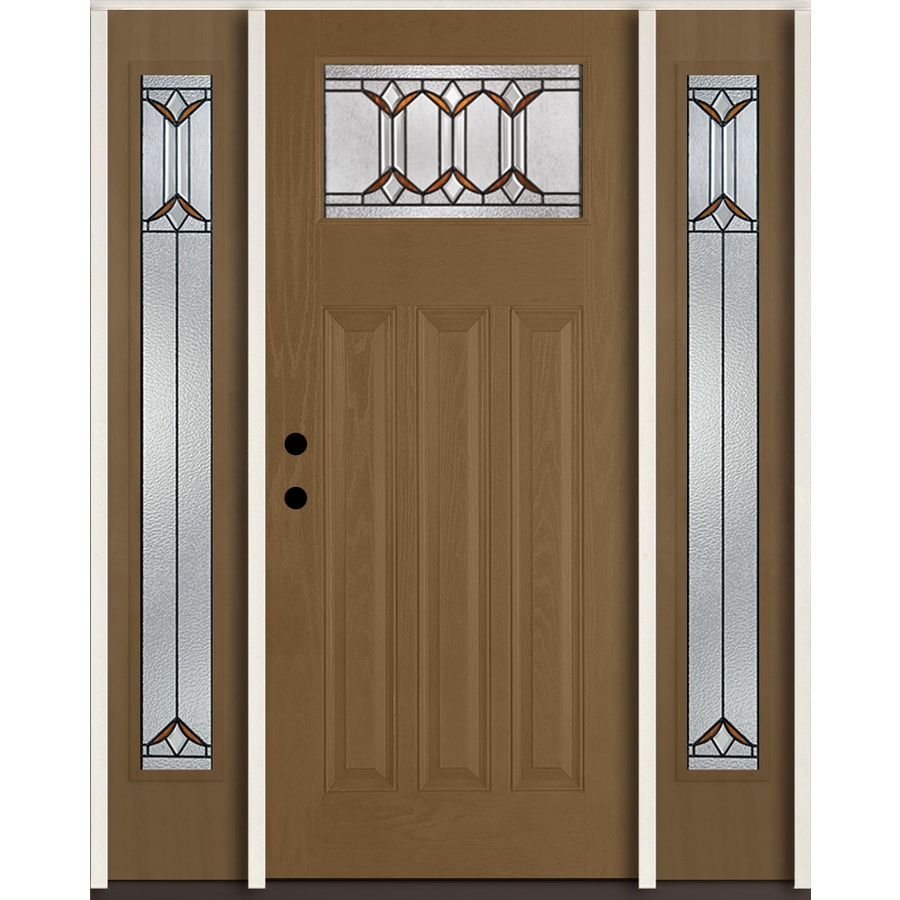 ReliaBilt Park Hill Craftsman Decorative Glass Right-Hand Inswing Woodhaven Stained Fiberglass Prehung Entry Door with Sidelights and Insulating Core (Common: 60-in X 80-in; Actual: 64.5-in x 81.75-in)