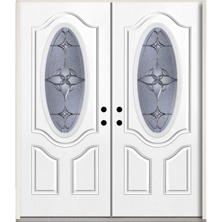 ReliaBilt Astrid Oval Lite Decorative Glass Left-Hand Inswing Fiberglass Prehung Double Entry Door with Insulating Core (Common: 72-in X 80-in; Actual: 73.875-in x 81.75-in)