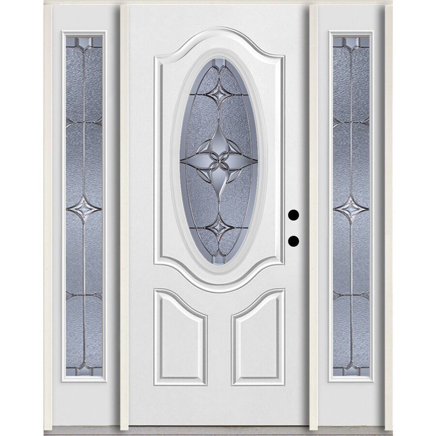 ReliaBilt Astrid Oval Lite Decorative Glass Left-Hand Inswing Arctic White Painted Fiberglass Prehung Entry Door with Sidelights and Insulating Core (Common: 60-in X 80-in; Actual: 64.5-in x 81.75-in)