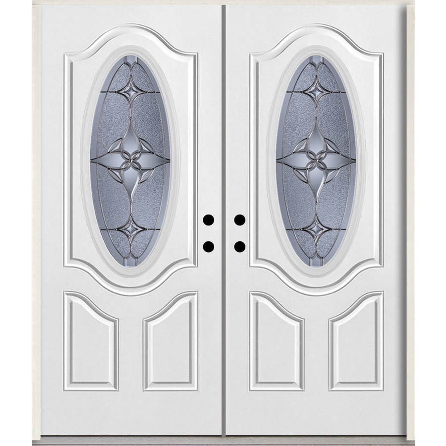 ReliaBilt Astrid Oval Lite Decorative Glass Left-Hand Inswing Arctic White Painted Fiberglass Prehung Double Entry Door with Insulating Core (Common: 72-in X 80-in; Actual: 73.875-in x 81.75-in)