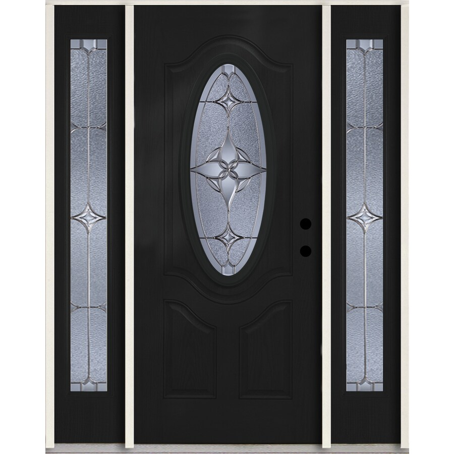 ReliaBilt Astrid Oval Lite Decorative Glass Left-Hand Inswing Peppercorn Painted Fiberglass Prehung Entry Door with Sidelights and Insulating Core (Common: 60-in X 80-in; Actual: 64.5-in x 81.75-in)