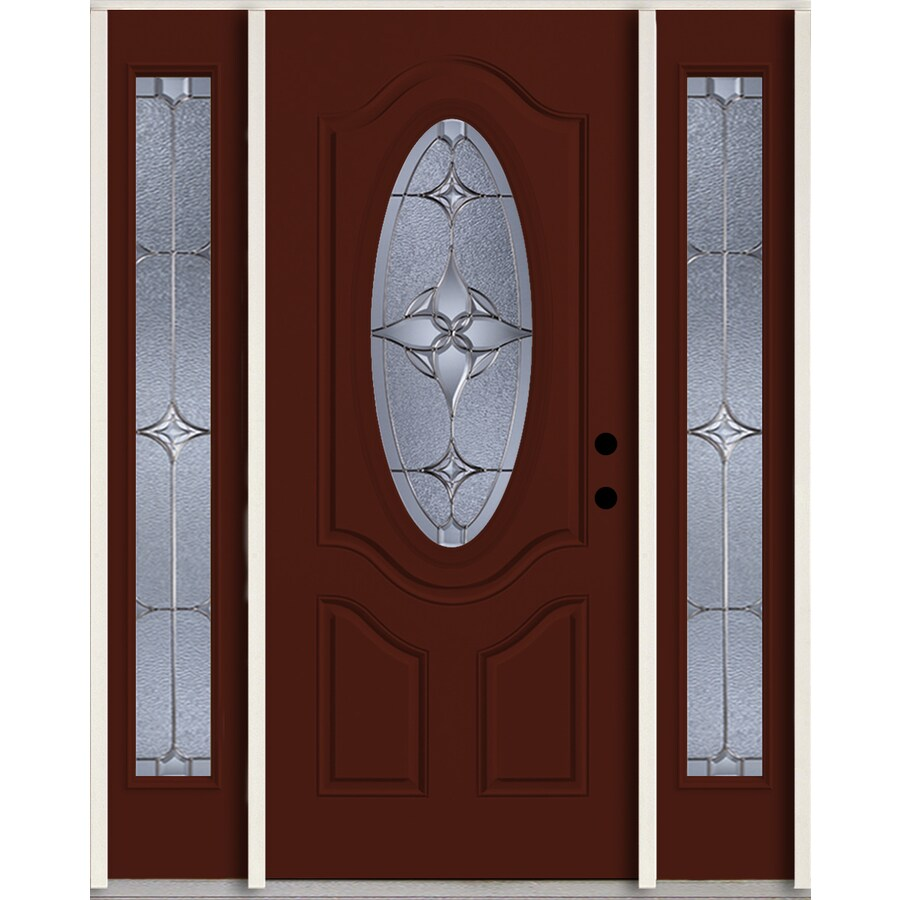 ReliaBilt Astrid Oval Lite Decorative Glass Left-Hand Inswing Currant Painted Fiberglass Prehung Entry Door with Sidelights and Insulating Core (Common: 60-in X 80-in; Actual: 64.5-in x 81.75-in)