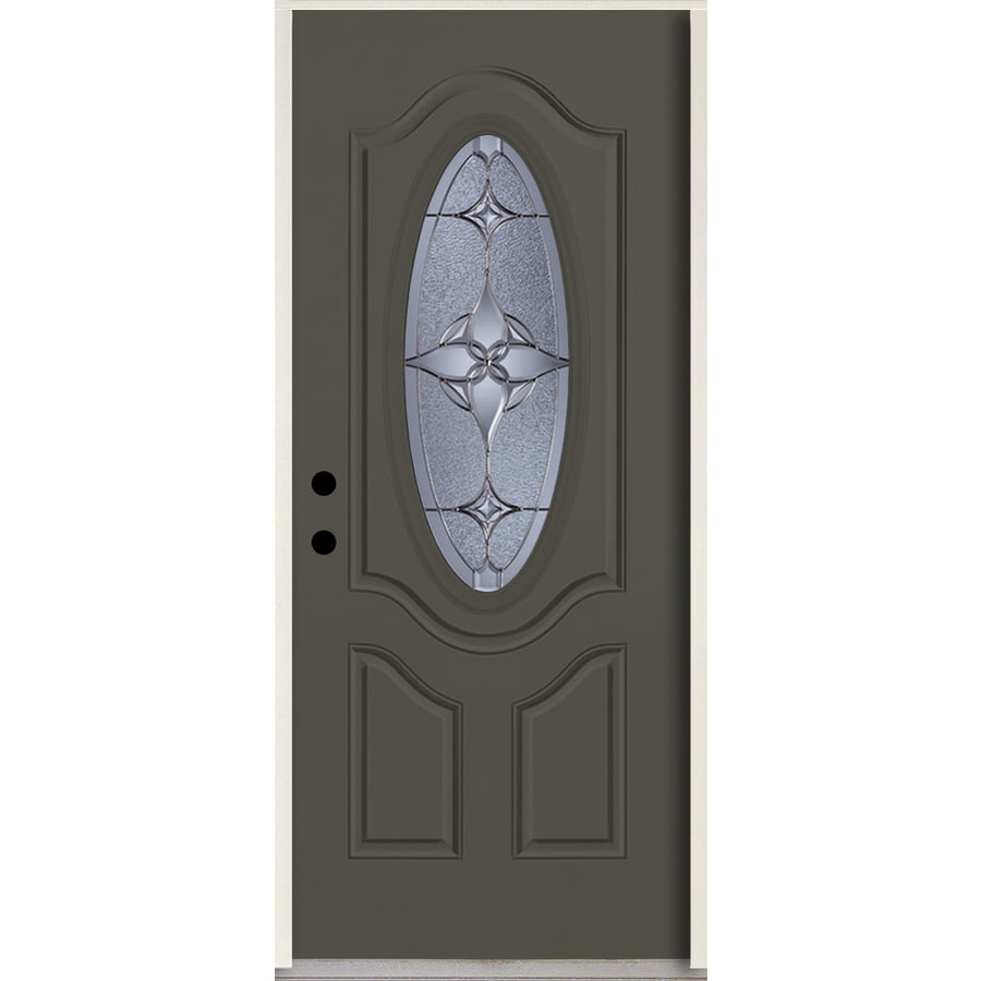 ReliaBilt Astrid Oval Lite Decorative Glass Right-Hand Inswing Thunder Gray Painted Fiberglass Prehung Entry Door with Insulating Core (Common: 36-in X 80-in; Actual: 37.5-in x 81.75-in)