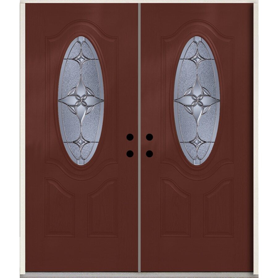 ReliaBilt Astrid Oval Lite Decorative Glass Left-Hand Inswing Wineberry Stained Fiberglass Prehung Double Entry Door with Insulating Core (Common: 72-in X 80-in; Actual: 73.875-in x 81.75-in)