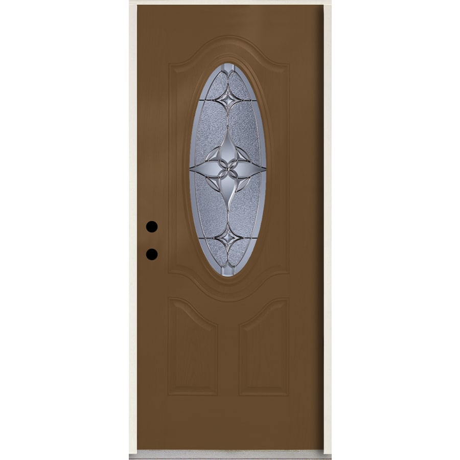 ReliaBilt Astrid Oval Lite Decorative Glass Right-Hand Inswing Woodhaven Stained Fiberglass Prehung Entry Door with Insulating Core (Common: 36-in X 80-in; Actual: 37.5-in x 81.75-in)