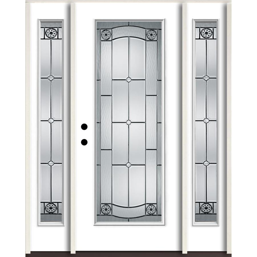 ReliaBilt Elan Full Lite Decorative Glass Right-Hand Inswing Fiberglass Prehung Entry Door with Sidelights and Insulating Core (Common: 60-in X 80-in; Actual: 64.5-in x 81.75-in)