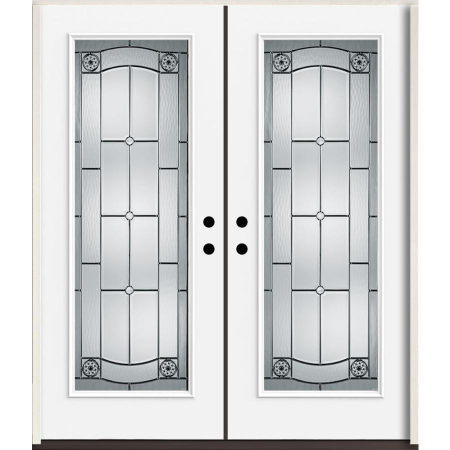 ReliaBilt Elan Full Lite Decorative Glass Right-Hand Inswing Fiberglass Prehung Double Entry Door with Insulating Core (Common: 72-in X 80-in; Actual: 73.875-in x 81.75-in)