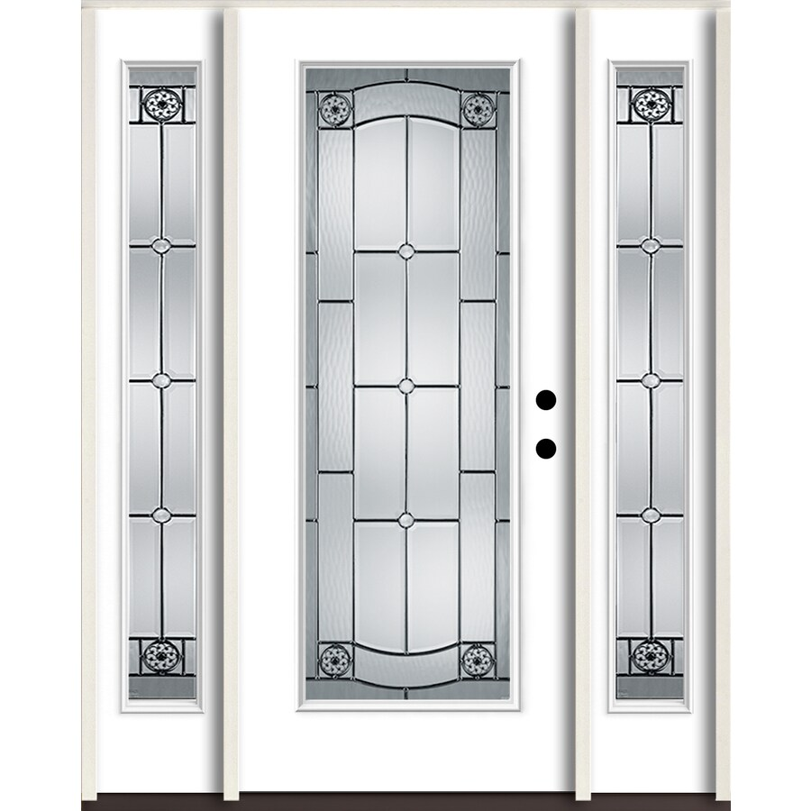 ReliaBilt Elan Full Lite Decorative Glass Left-Hand Inswing Modern White Painted Fiberglass Prehung Entry Door with Sidelights and Insulating Core (Common: 60-in X 80-in; Actual: 64.5-in x 81.75-in)