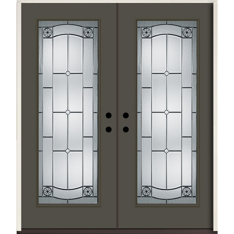 ReliaBilt Elan Full Lite Decorative Glass Right-Hand Inswing Thunder Gray Painted Fiberglass Prehung Double Entry Door with Insulating Core (Common: 72-in X 80-in; Actual: 73.875-in x 81.75-in)