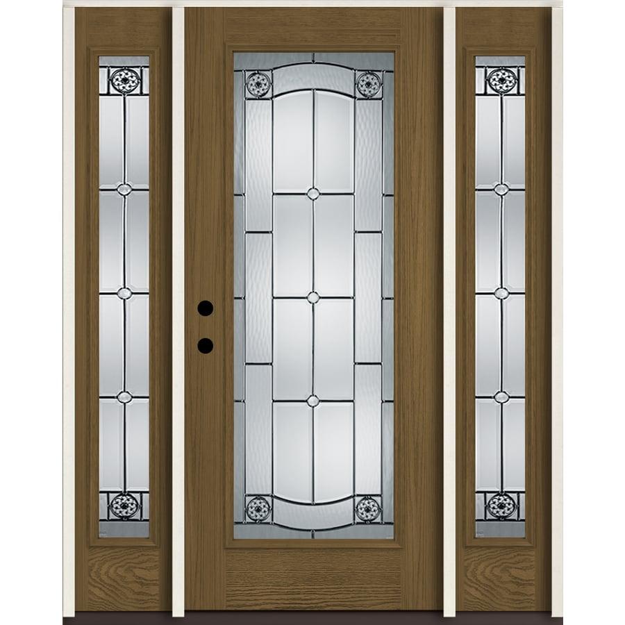 Shop Reliabilt Elan Full Lite Decorative Glass Right Hand Inswing Walnut Stained Fiberglass