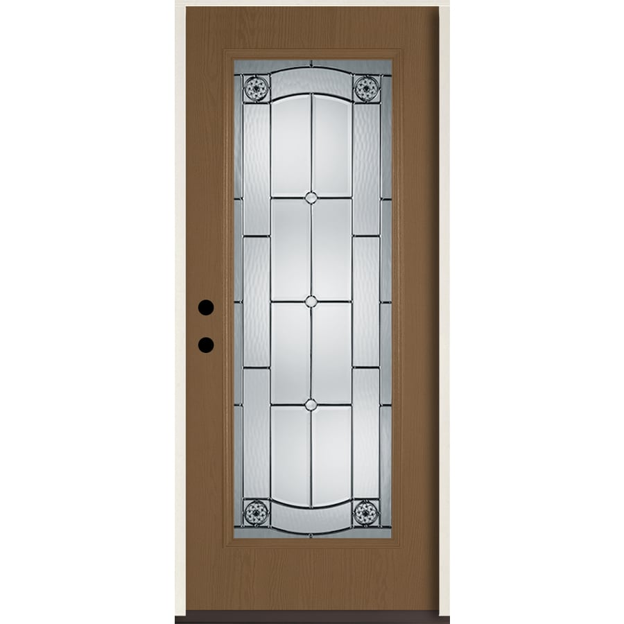ReliaBilt Elan Full Lite Decorative Glass Right-Hand Inswing Woodhaven Stained Fiberglass Prehung Entry Door with Insulating Core (Common: 36-in X 80-in; Actual: 37.5-in x 81.75-in)