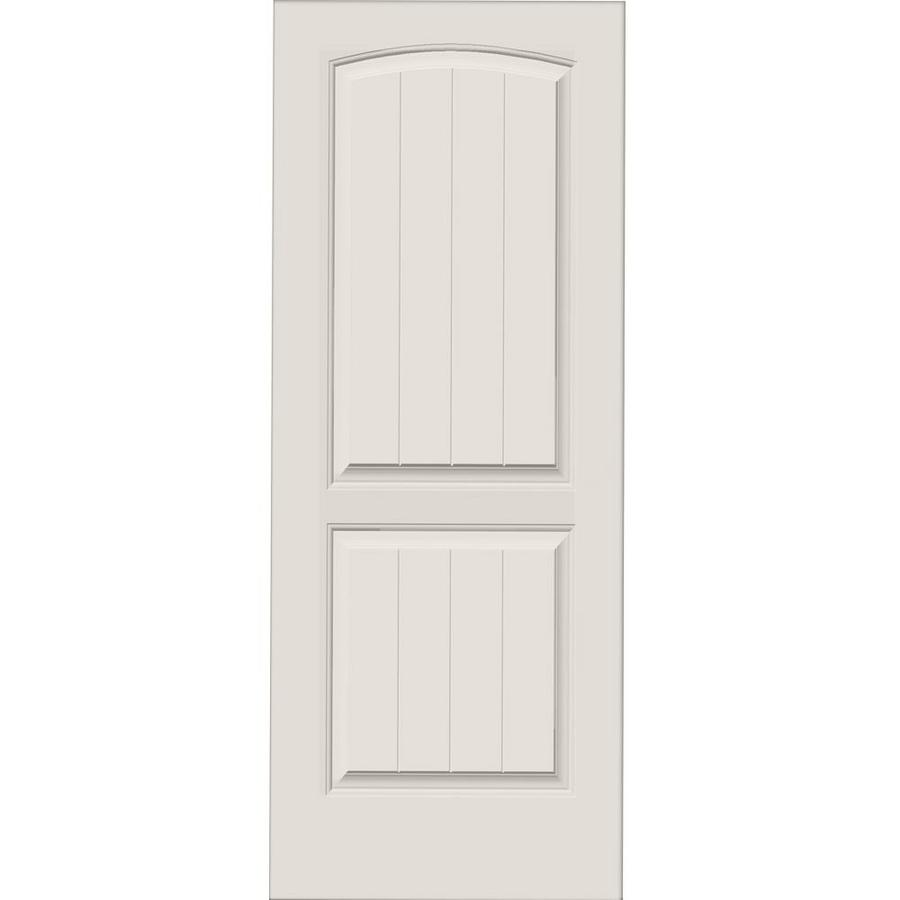 Shop millennium collection encore white 2 panel round top for Solid core mdf interior doors