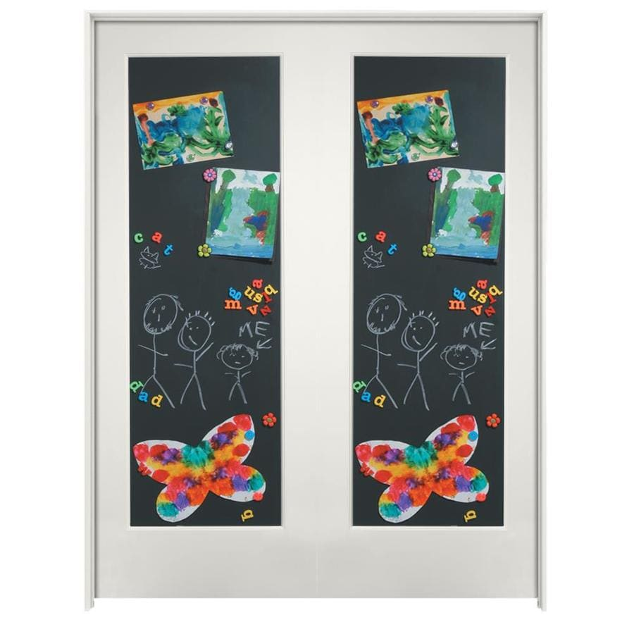 Millennium Collection Ovation Snow Storm Chalkboard Solid Core MDF Double  Pre Hung Door (Common