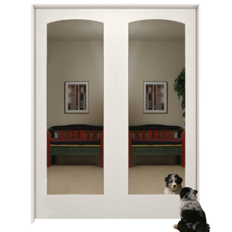Millennium Collection Ovation Primed Solid Core Mirrored Gl Mdf Double Pre Hung Door Common 60 In X 80 Actual 61 375 81 3125