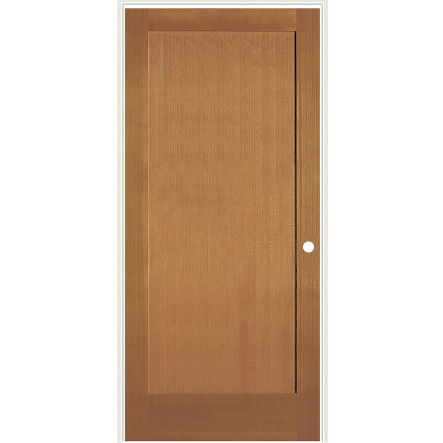 Brown Wood Interior Doors: SIMPSON Brown 1-Panel Solid Core Wood Fir Single Prehung
