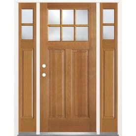 SIMPSON 1/4 Lite Clear Glass Brown Wood Prehung Solid Core Entry Door With  Sidelights