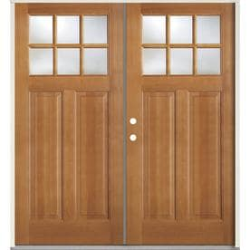 Beau SIMPSON 1/4 Lite Clear Glass Brown Wood Prehung Solid Core Double Entry Door