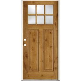 SIMPSON 1/4 Lite Clear Glass Brown Wood Prehung Solid Core Entry Door  (Common