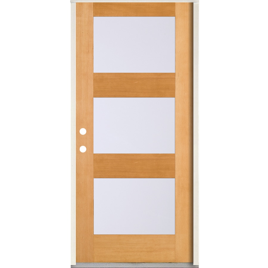 Simpson Full Lite Frosted Glass Right Hand Inswing Brown Wood