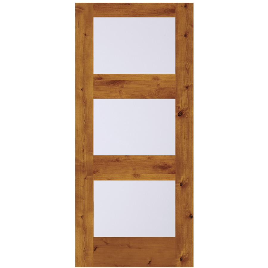 Shop Simpson Full Lite Frosted Glass Universal Reversible Brown Wood