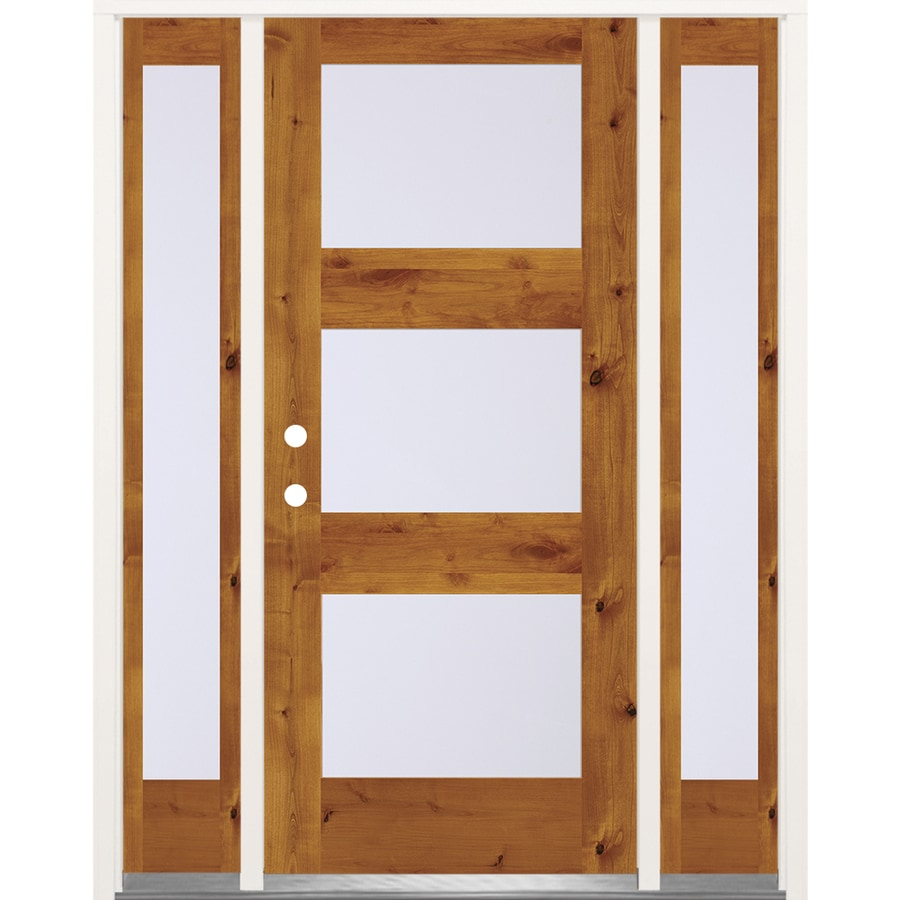 SIMPSON Full Lite Frosted Glass Left Hand Inswing Brown Wood Prehung Solid  Core Entry Door