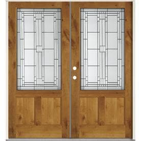 SIMPSON 3/4 Lite Decorative Glass Brown Wood Prehung Solid Core Double Entry  Door (