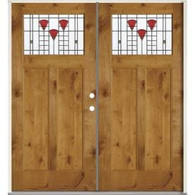 SIMPSON Craftsman Decorative Glass Brown Wood Prehung Solid Core Double Entry  Door (Common: 72