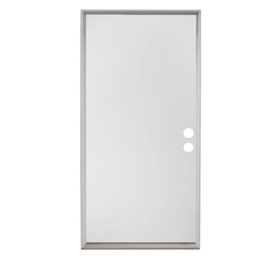 ReliaBilt Flush Solid Wood Core Right-Hand Inswing Wood Composite Primed Prehung Entry Door (Common: 32-in x 80-in; Actual: 33.5-in x 81.75-in)