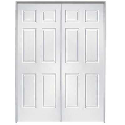 Colonist Primed White 6 Panel Hollow Core Molded Composite Pre Hung Door Common 48 In X 80 In Actual 48 In X 80 In