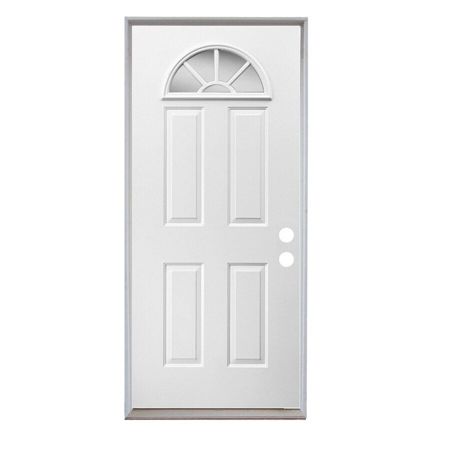 ReliaBilt Sunburst 4-Panel Insulating Core Fan Lite Left-Hand Inswing Steel Primed Prehung Entry Door (Common: 36-in x 80-in; Actual: 37.5-in x 81.75-in)