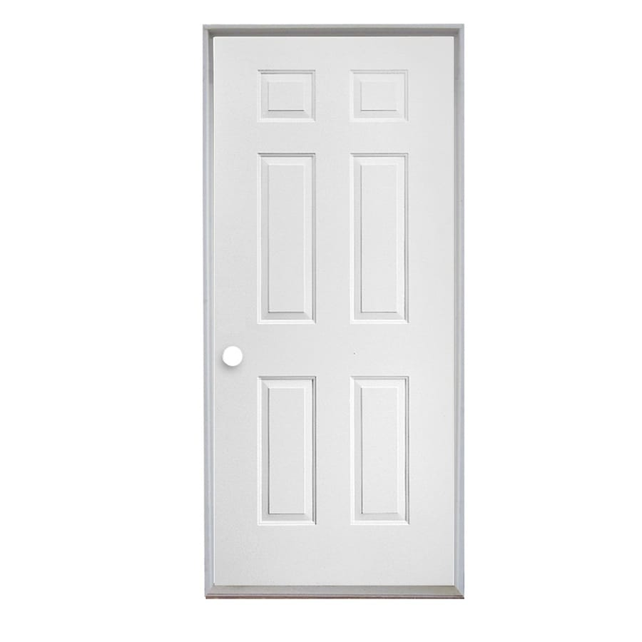 Shop reliabilt 6 panel insulating core left hand inswing for Metal entry doors