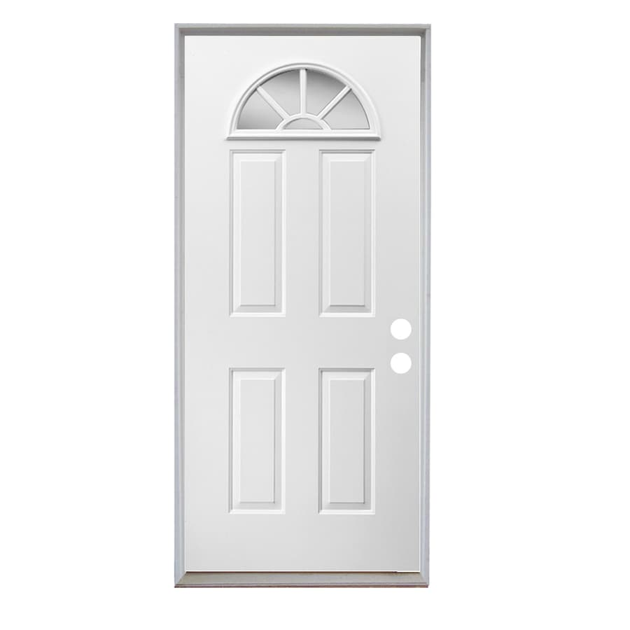 ReliaBilt Sunburst 4-Panel Insulating Core Fan Lite Right-Hand Inswing Steel Primed Prehung Entry Door (Common: 32-in x 80-in; Actual: 33.5-in X