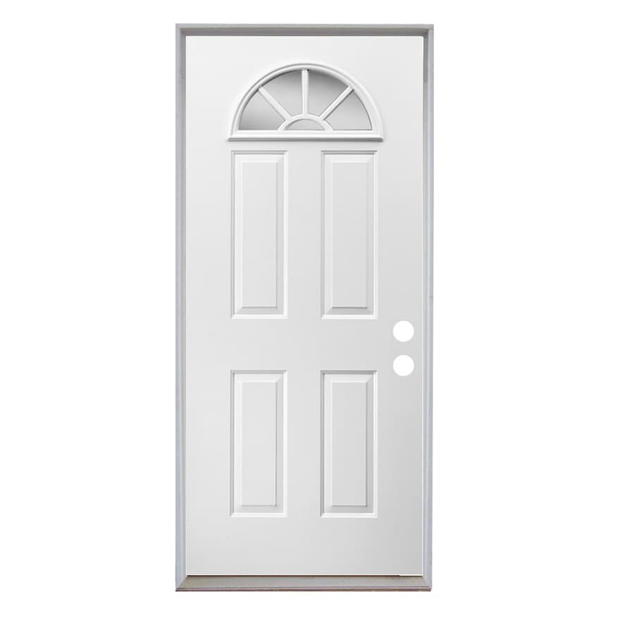 ReliaBilt Sunburst 4-Panel Insulating Core Fan Lite Left-Hand Inswing Steel Primed Prehung Entry Door (Common: 32-in x 80-in; Actual: 33.5-in X