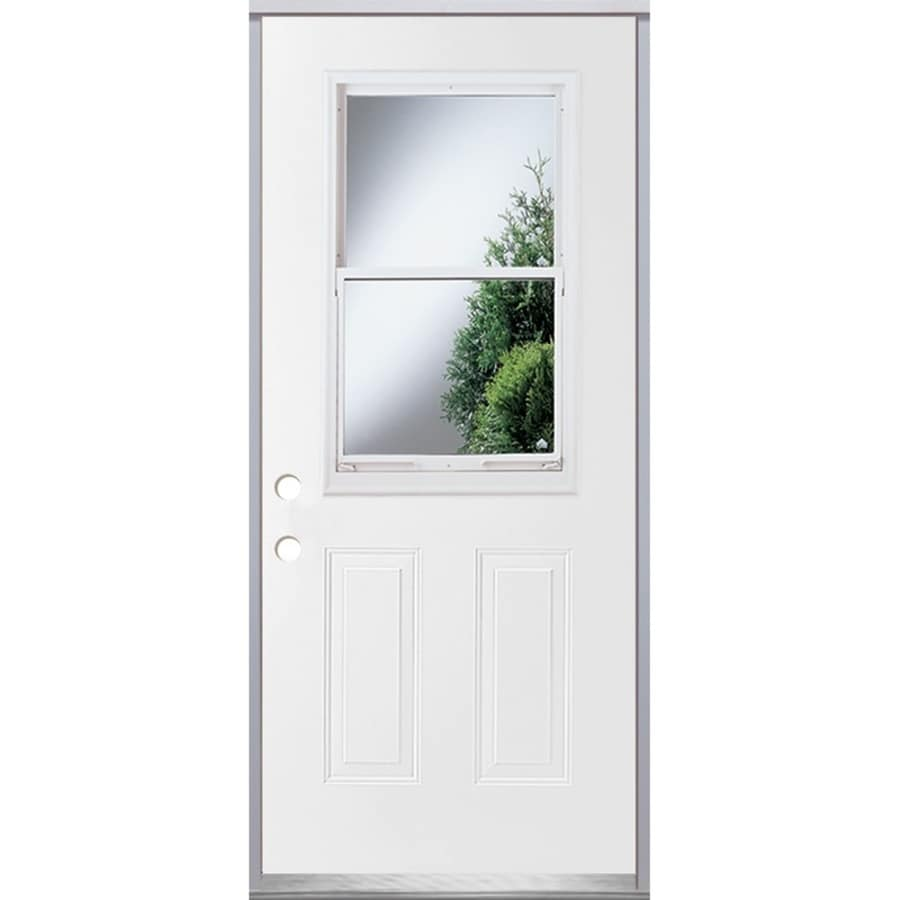 ReliaBilt 2-Panel Insulating Core Vented Glass with Screen Right-Hand Inswing Steel Primed Prehung Entry Door (Common: 32-in x 80-in; Actual: 33.5-in x 81.75-in)