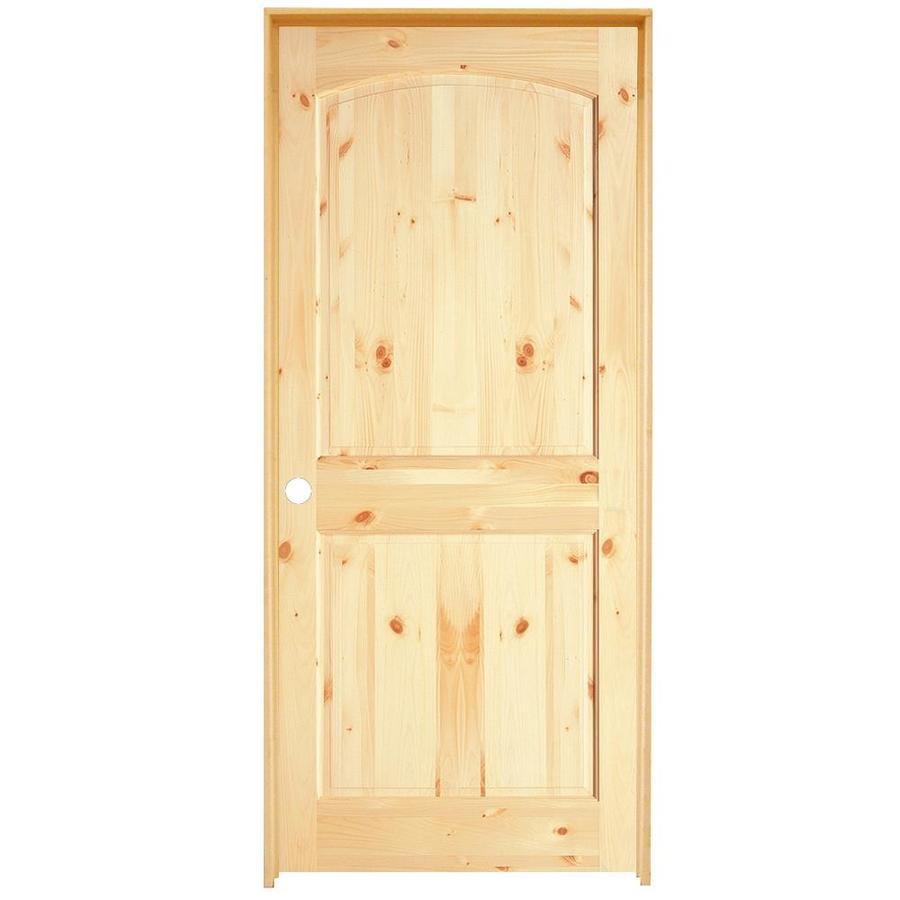 ReliaBilt Prehung 2-Panel Arch Top Knotty Pine Interior Door (Common: 36-in x 80-in; Actual: 37.5-in x 81.5-in)