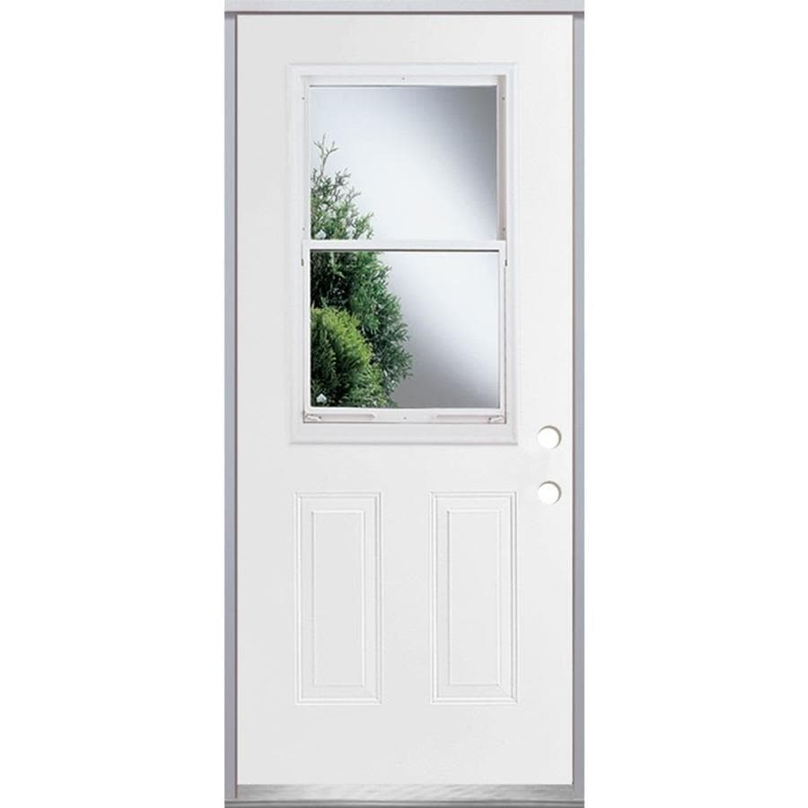 ReliaBilt French Insulating Core Vented Glass with Screen Left-Hand Inswing Steel Primed Prehung Entry Door (Common: 36-in x 80-in; Actual: 37.5-in x 81.75-in)